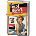 Briquet à essence orange : Best garage avec pin-up à moto