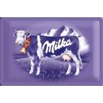 Plaque en métal 30 X 40 cm : Chocolat Milka et sa vache mauve
