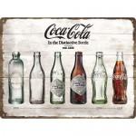 Plaque en métal 30 X 40 cm : Evolution de la bouteille de Coca-Cola