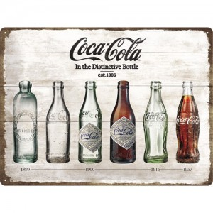 Plaque en métal 30 X 40 cm : Coca-Cola publicité rétro jaune et rouge