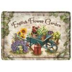 Plaque en métal 14 X 10 cm : English flower garden (fleurs)