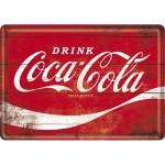 Plaque en métal 14 X 10 cm : Coca-Cola logo classique