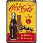 Plaque en métal 14 X 10 cm : Coca-Cola & casier de petites bouteilles
