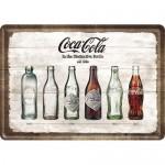Plaque en métal 14 X 10 cm : Coca-Cola et l'évolution de sa bouteille au fil du temps