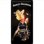 Plaque en métal 25 x 50 cm : Harley-Davidson Pin-up à moto