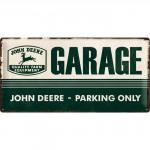 Plaque en métal 25 x 50 cm : John Deere - Garage