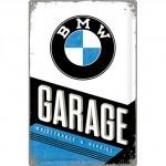 Plaque en métal mate neuve XL 40 x 60 cm : Garage BMW
