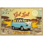 Plaque en métal mate neuve XL 40 x 60 cm : VW Volkswagen Bulli T1 dans la savane