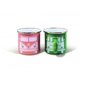 Set de 2 tasses à café (set of 2 coffee mug) en métal VW Volkswagen T1 BULLI rose et verte