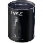 Tirelire métallique ronde Coca-Cola Bouteille classique sur fond noir