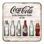Sous-verre avec la petite bouteille Coca-Cola au fil du temps