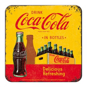 Sous-verre Coca-Cola : Casier petites bouteilles vintage