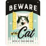 """Plaque en métal 15 X 20 cm """"Beware of the cat ..."""" - """"Méfiez-vous du chat ..."""""""