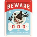 """Plaque en métal 15 X 20 cm """"Beware of the dog ..."""" - """"Méfiez-vous du chien ..."""""""