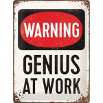 "Plaque en métal 30 X 40 cm ""Warning genius at work"" - ""Attention génie au travail"""
