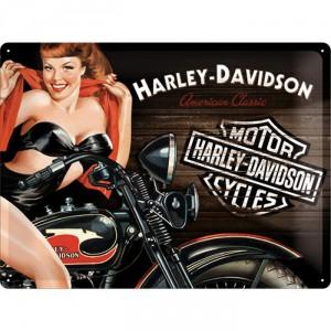 Plaque en métal 30 X 40 cm Harley-Davidson : Pin-up à moto