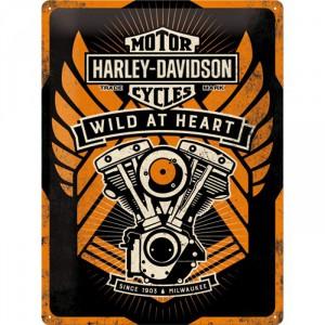 Plaque en métal 30 X 40 cm Harley-Davidson et son fameux moteur V-Twin