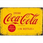 Plaque en métal mate neuve XL 40 x 60 cm : Publicité Coca-Cola jaune et rouge