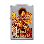 Briquet essence Zippo Jimi Hendrix en concert version multicolore sur fond street chrome