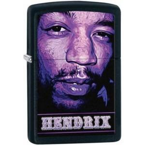 Briquet essence Zippo Jimi Hendrix en gros plan sur fond noir