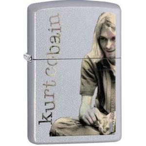 Briquet essence Zippo Kurt Cobain du groupe Nirvana sur fond chrome satiné