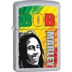 "Briquet essence Zippo Bob Marley sur fond ""street chrome"""
