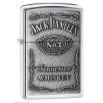 Briquet essence ZIPPO logo de Jack Daniel's en relief sur fond chromé