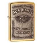 Briquet essence ZIPPO logo de Jack Daniel's en relief sur fond laiton