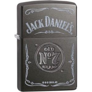 """Briquet essence ZIPPO logo de Jack Daniel's sur fond """"gray dusk"""""""
