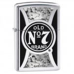 Briquet essence Zippo Jack Daniel's logo sur fond high polish chrome