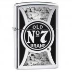 Briquet essence Zippo Jack Daniel's logo sur fond high polish chrome