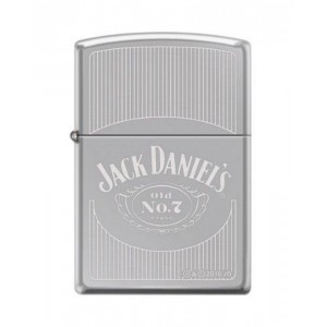"Briquet essence ZIPPO logo de Jack Daniel's avec lignes sur ""high polish chrome"""