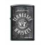 Briquet essence ZIPPO logo de Jack Daniel's avec texture sur fond noir
