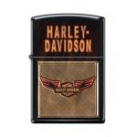 Briquet essence Zippo Harley-Davidson logo ailé sur fond noir