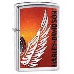 Briquet essence Zippo Harley-Davidson logo ailé fond de couleur