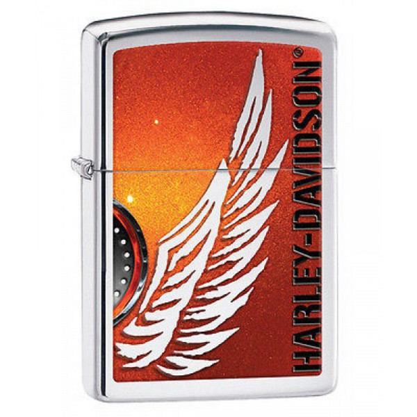 Briquet Essence Zippo Harley Davidson Logo Ail 233 Fond De