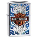 Briquet essence Zippo Harley-Davidson Bar & Shield sur texture genuine