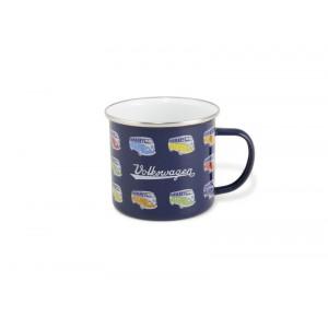 Tasse à café (coffee mug) VW Volkswagen T1 Bulli multicolores sur fond bleu marine