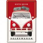 Plaque en métal 14 X 10 cm VW Volkswagen T1 Bulli rouge et blanc de face
