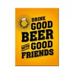 Magnet 8 x 6 cm Boire une bonne bière avec de bons amis (Beer)