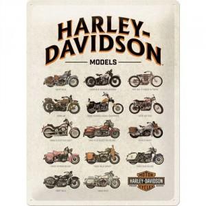 Plaque en métal 30 X 40 cm logo Harley-Davidson pêle-mêle d'anciennes motos