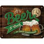 """Plaque en métal 15 X 20 cm """"Beer o'clock"""" (Bière)"""