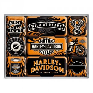 Set de 9 magnets : Harley-Davidson motos
