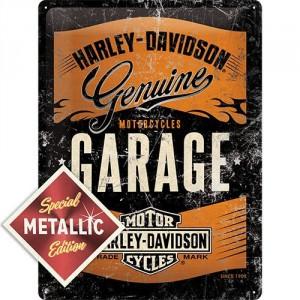 Plaque en métal 30 X 40 cm logo Harley-Davidson EDITION SPECIALE METALLISEE