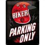 Plaque en métal 30 X 40 cm biker parking only (Parking réservé aux motards)