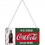 Plaque en métal 10 X 20 cm à suspendre : Coca-Cola