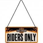 Plaque en métal 10 X 20 cm à suspendre : Harley-Davidson