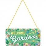Plaque en métal 10 X 20 cm à suspendre : Welcome to my garden (Bienvenue dans mon jardin)