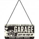 Plaque en métal 10 X 20 cm à suspendre : Garage voitures et motos