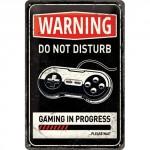 "Plaque en métal 20 X 30 cm ""Warning - Do not disturb..."" - ""Attention - Ne pas déranger..."""